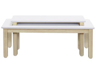 Table Basse Scandinave Avec Banc Integre Blanc Et Bois Clair Cybel