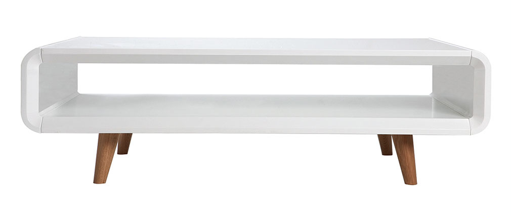 Table basse scandinave blanc brillant et frêne MELKA