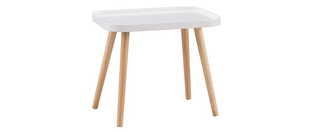 Table basse scandinave blanc et bois clair BENTO
