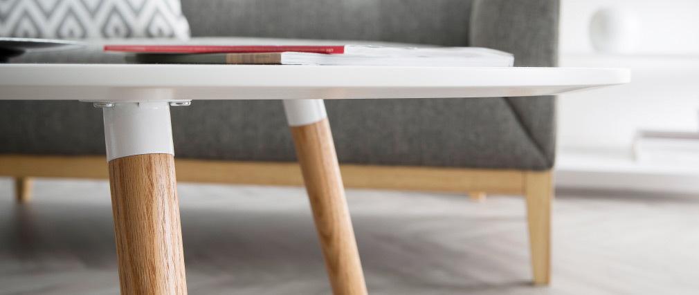 table basse scandinave blanc et bois clair gilda miliboo. Black Bedroom Furniture Sets. Home Design Ideas