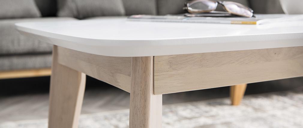 Table basse scandinave blanche avec pieds bois LEENA