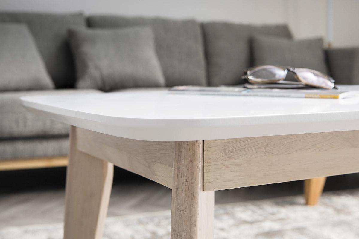 Table Blanche Pied Bois table basse scandinave blanche avec pieds bois leena - miliboo