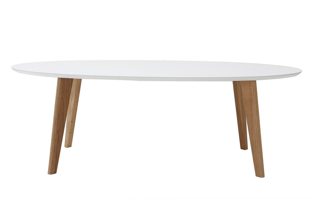 Table basse scandinave blanche L120 cm EKKA