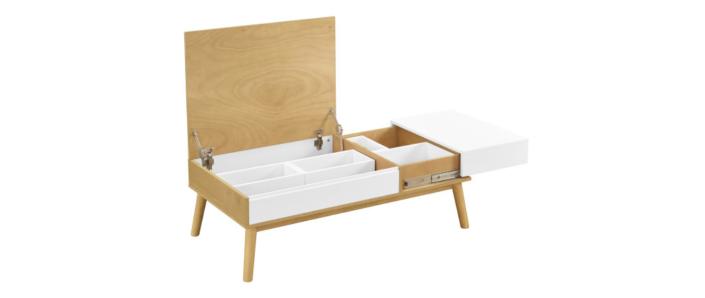 Table basse scandinave bois clair et blanc avec rangement TALIA