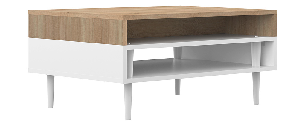 Table basse scandinave bois et blanc STRIPE