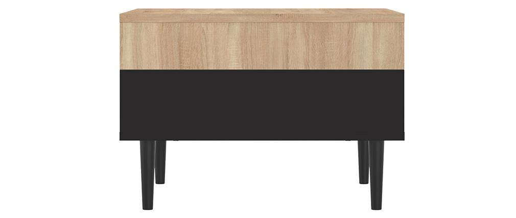 Table basse scandinave bois et noir STRIPE
