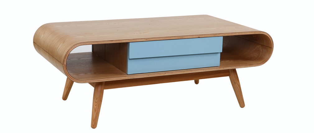 Table basse scandinave bois naturel bleu baltik miliboo Table basse personnalisee photo