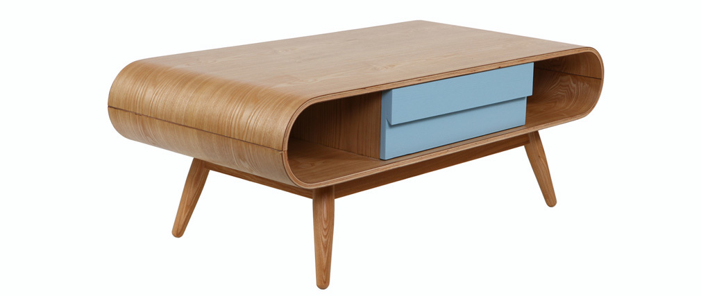 Table basse scandinave bois naturel bleu baltik miliboo for Table scandinave soldes
