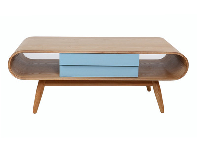 Table basse scandinave bois naturel bleu BALTIK