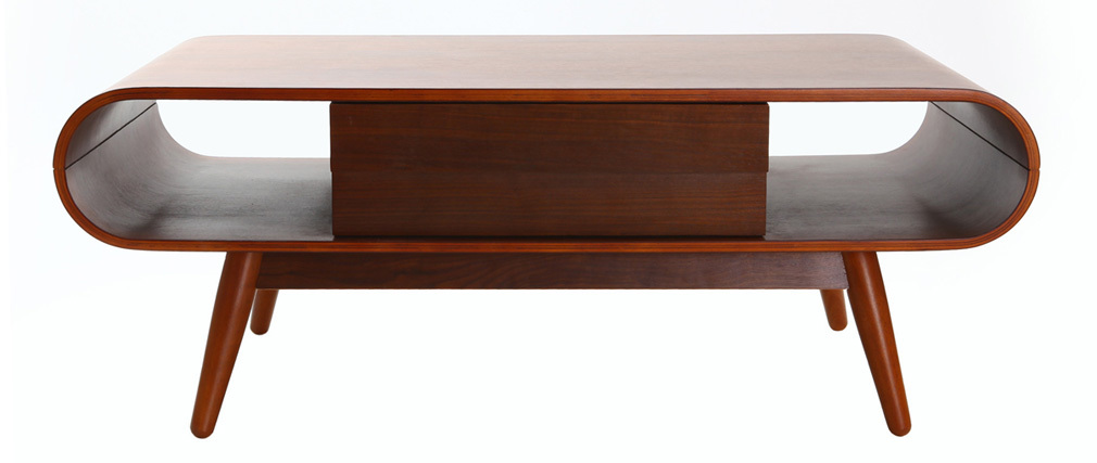 Table basse scandinave bois noyer baltik miliboo for Table basse bois brut scandinave