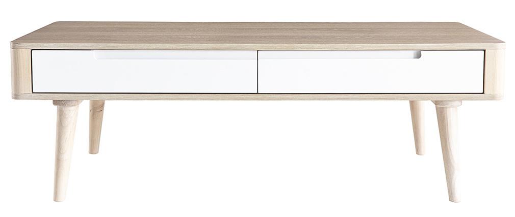 Table basse scandinave frêne et blanc GOTLAND