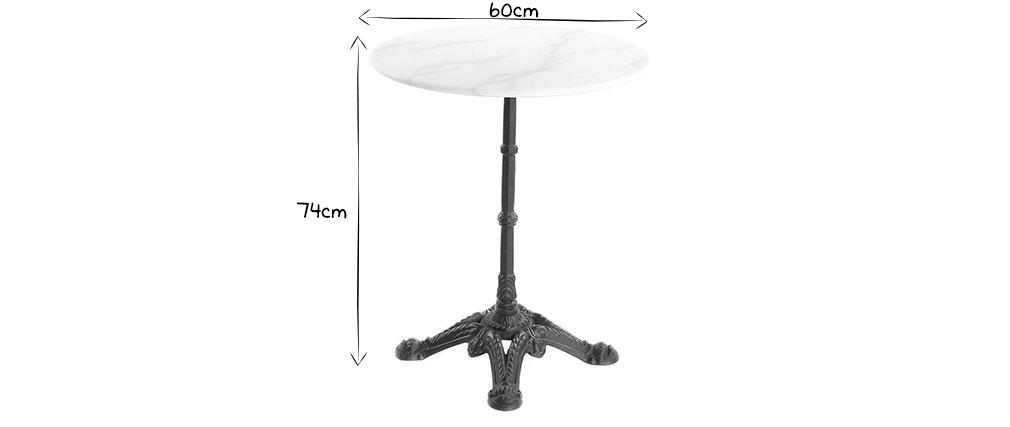 Table bistrot en marbre blanc et métal noir CONTY