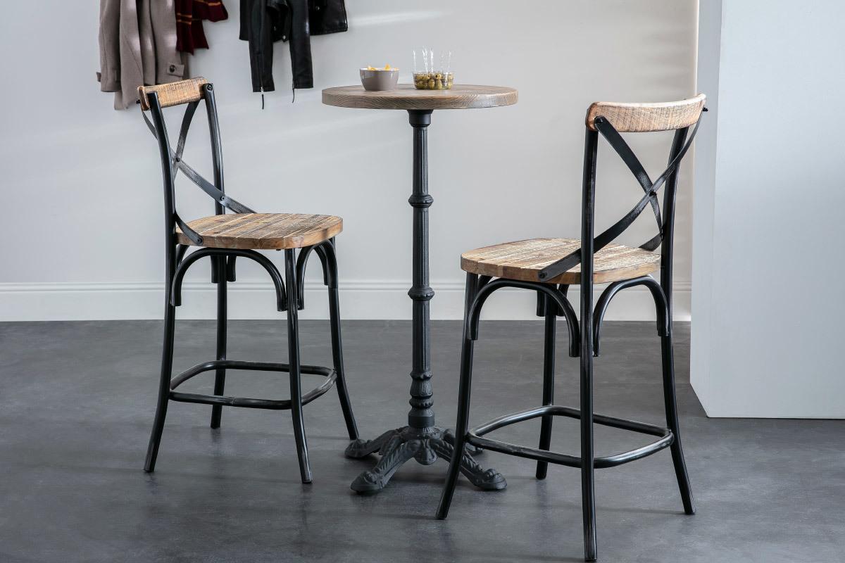 Table Bistrot Haute Ronde Bois Et Metal Conty Miliboo