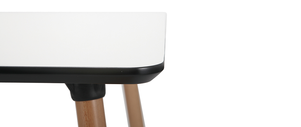 Table carrée design blanche avec pied en bois L80 cm BRUNCH