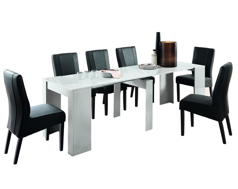 Table Console Extensible Design Blanc Brillant L54 252 Cm Como Miliboo