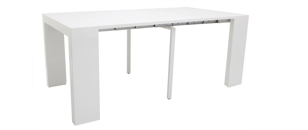 Table console extensible design blanc laqué CALEB
