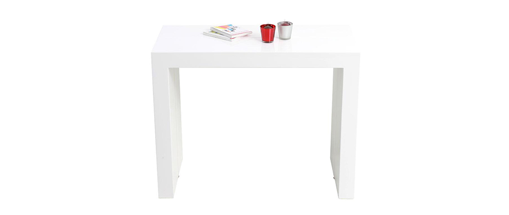 table console extensible laqu e blanche caleb miliboo. Black Bedroom Furniture Sets. Home Design Ideas