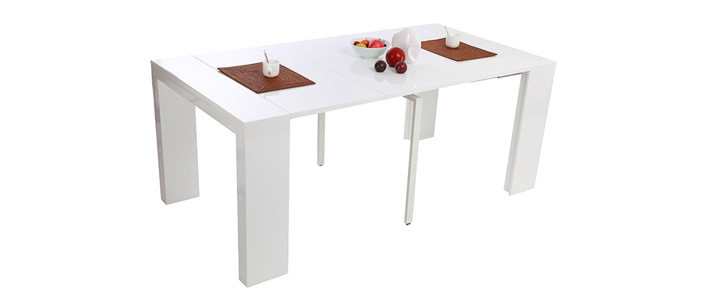 Table console extensible laqu e blanche caleb miliboo - Table laquee extensible ...