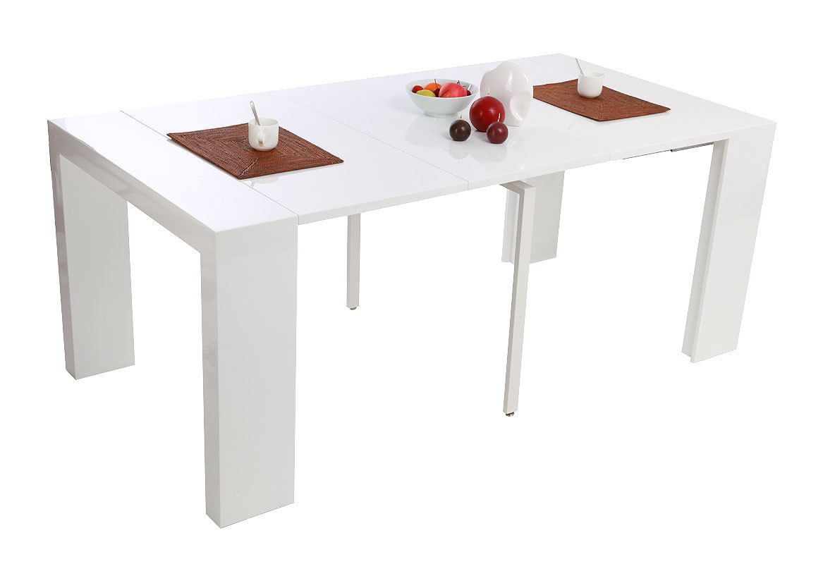 Table console extensible laqu e blanche caleb miliboo for Table blanche extensible