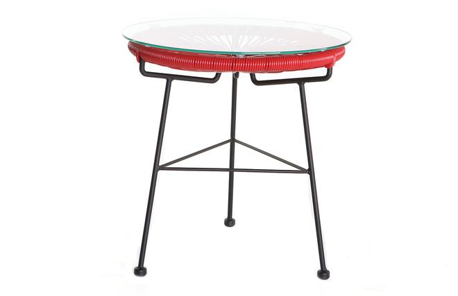 Table d\'appoint de jardin en fils de résine rouge BELLAVISTA ...