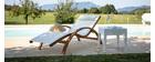 Table d'appoint de jardin en résine tressée blanche SAMOA