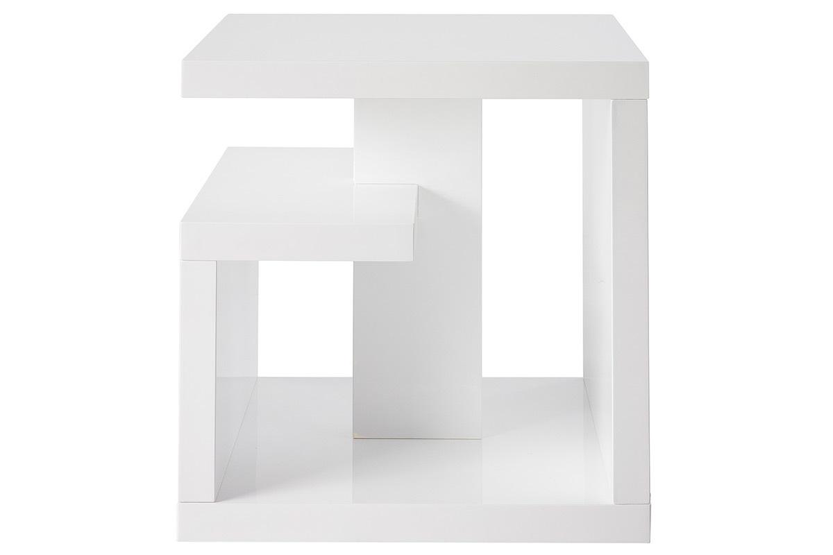 table d 39 appoint design laqu e blanche halton miliboo. Black Bedroom Furniture Sets. Home Design Ideas