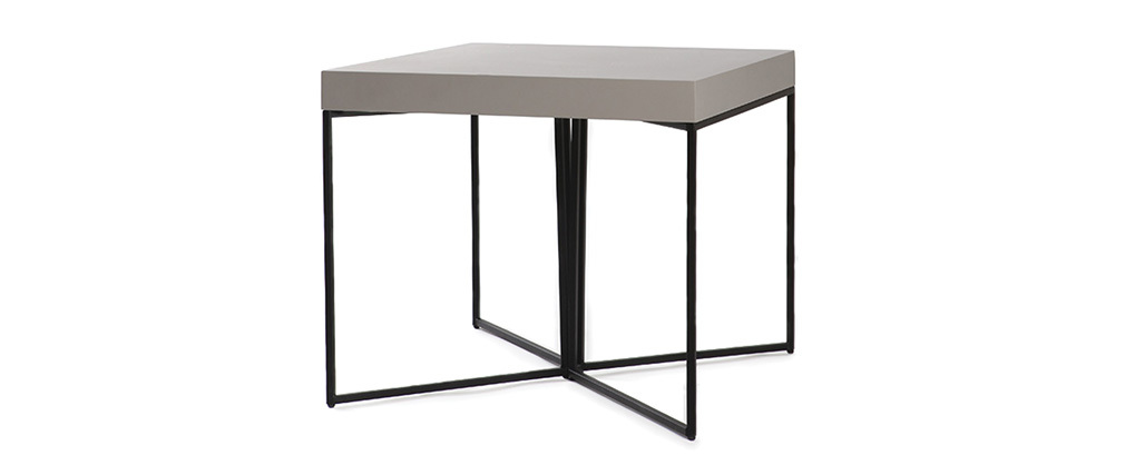 table d 39 appoint design taupe mat et noir yta miliboo. Black Bedroom Furniture Sets. Home Design Ideas