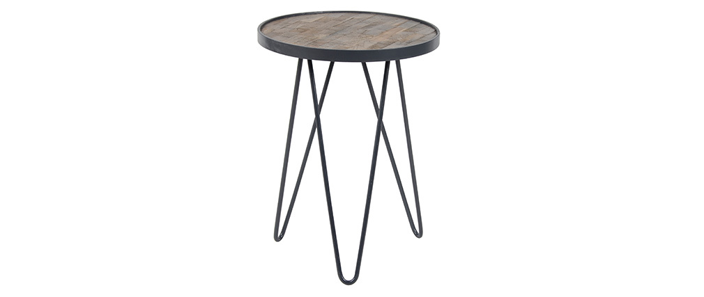 Table d'appoint industrielle ronde en teck PATTY