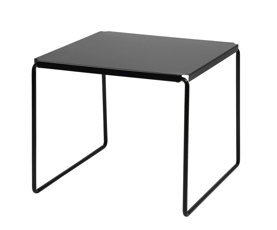 Table d 39 appoint m tal noire 50x50cm aero miliboo for Table d appoint transparente