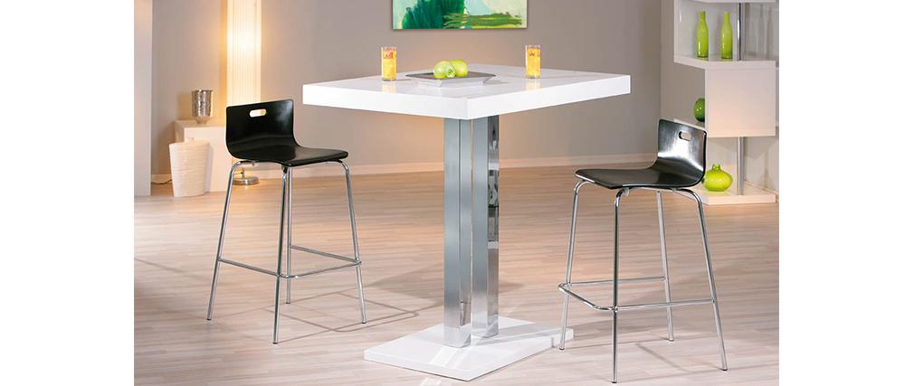 Table de bar blanc laqué Oriana