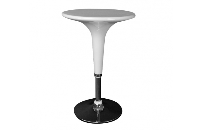 table de bar design blanche ronde john miliboo. Black Bedroom Furniture Sets. Home Design Ideas