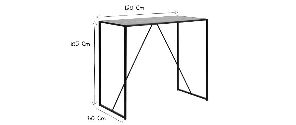 Table de bar design bois noir et métal TRESCA