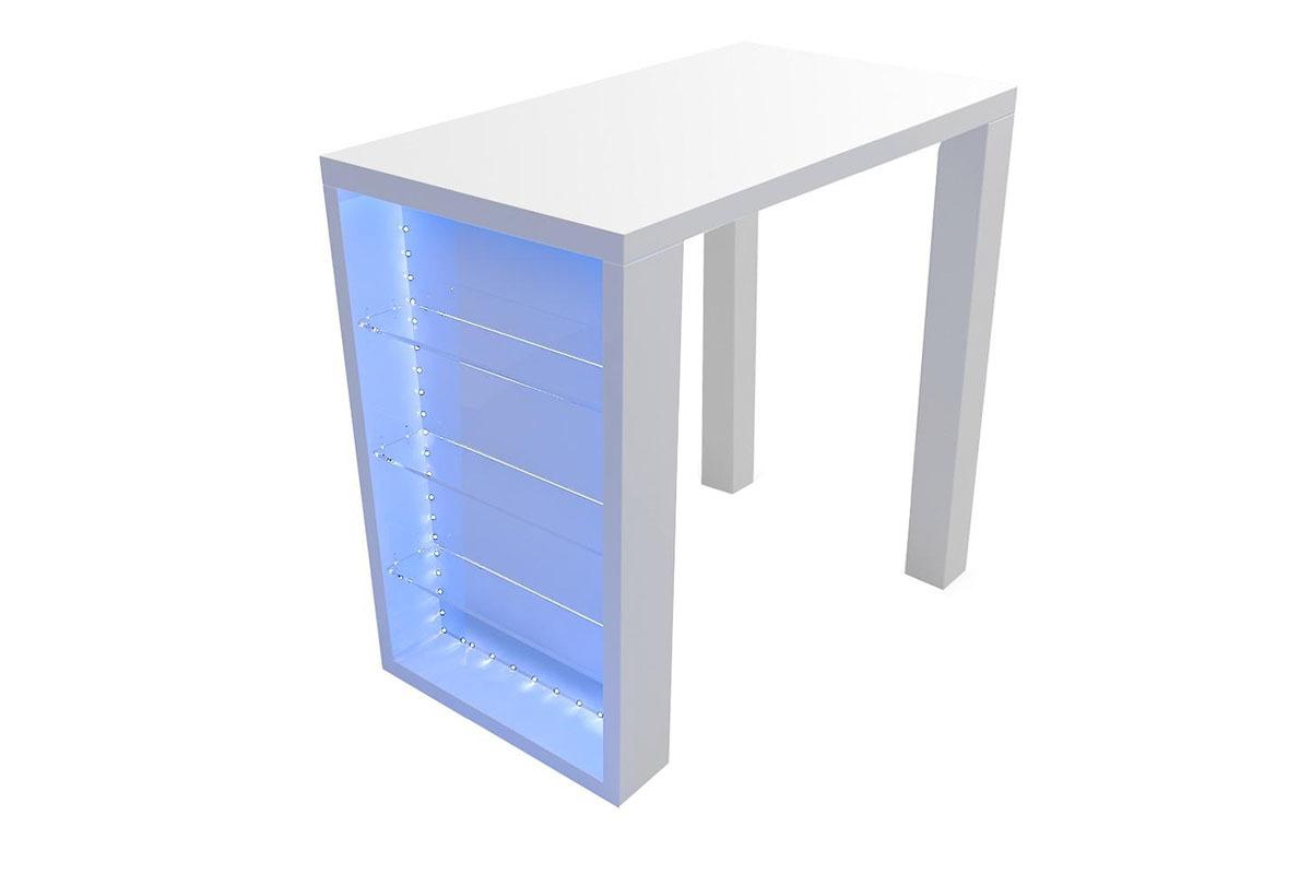 Promotion 12 table de bar design laqu e blanche voka for Econoprix meubles