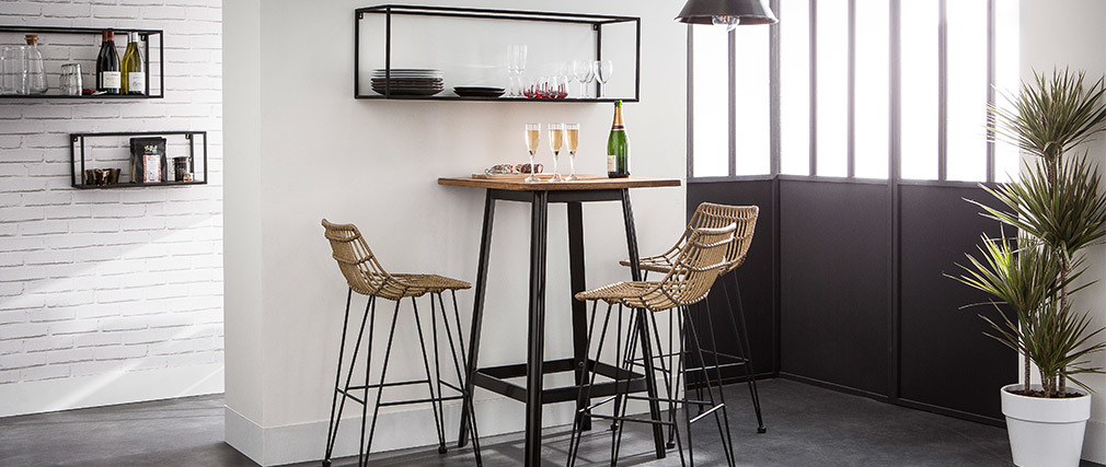 Table de bar design noire JONES