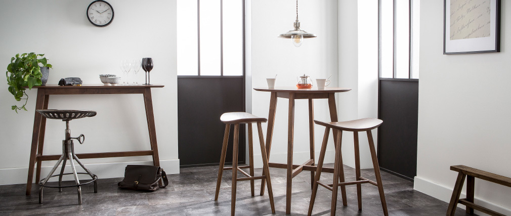 Table de bar design ronde bois noyer DEMORY