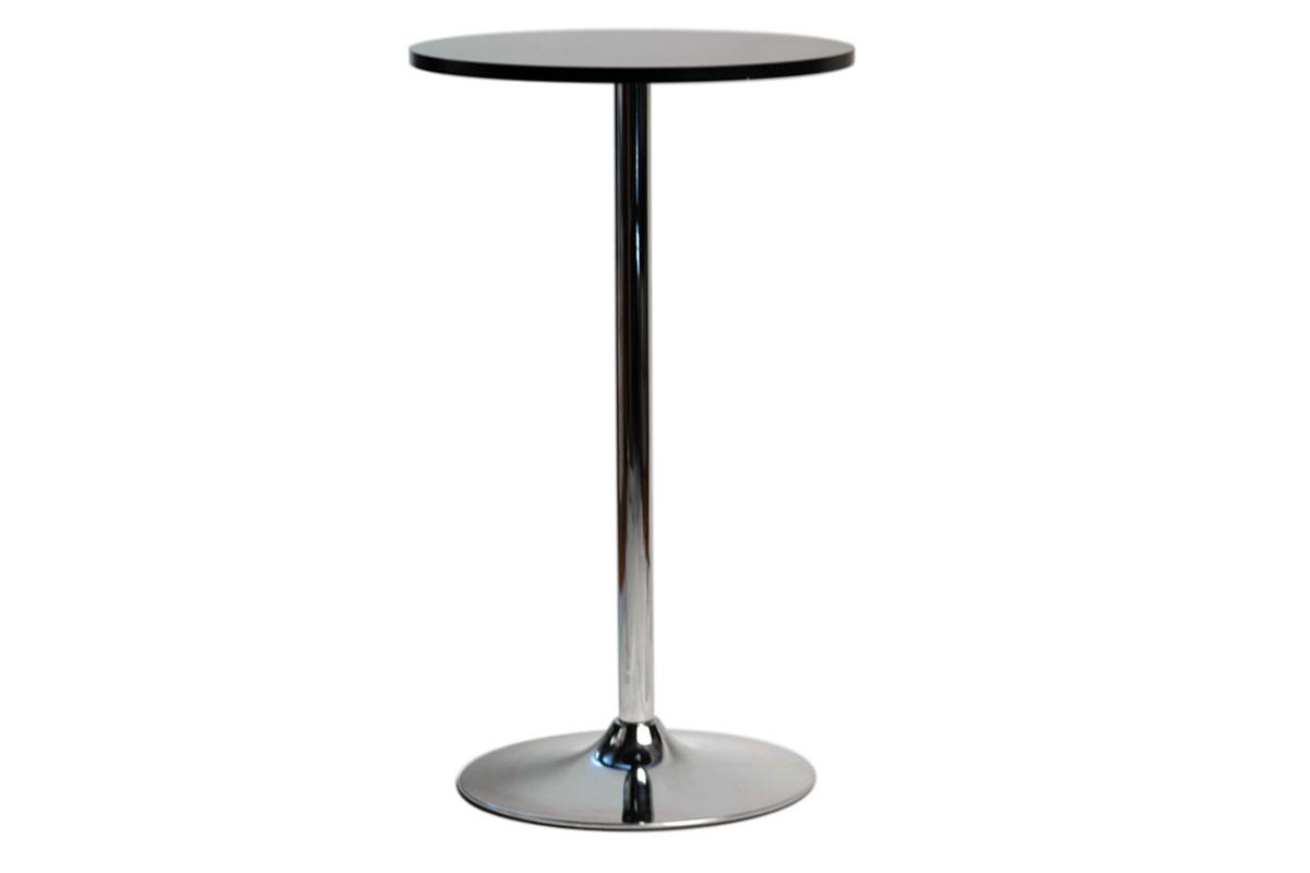 Miliboo Table Haute carr/ée en manguier Massif et m/étal Noir YPSTER