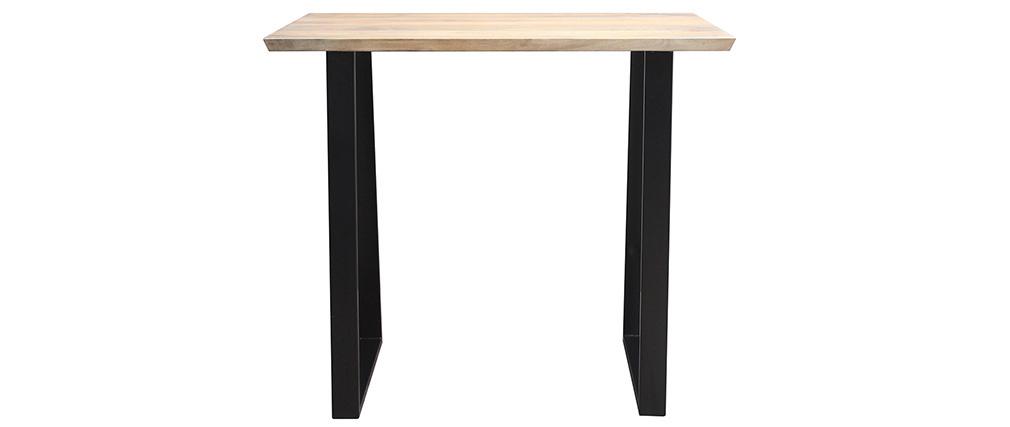 Table de bar en manguier massif et métal noir L120 cm VIJAY