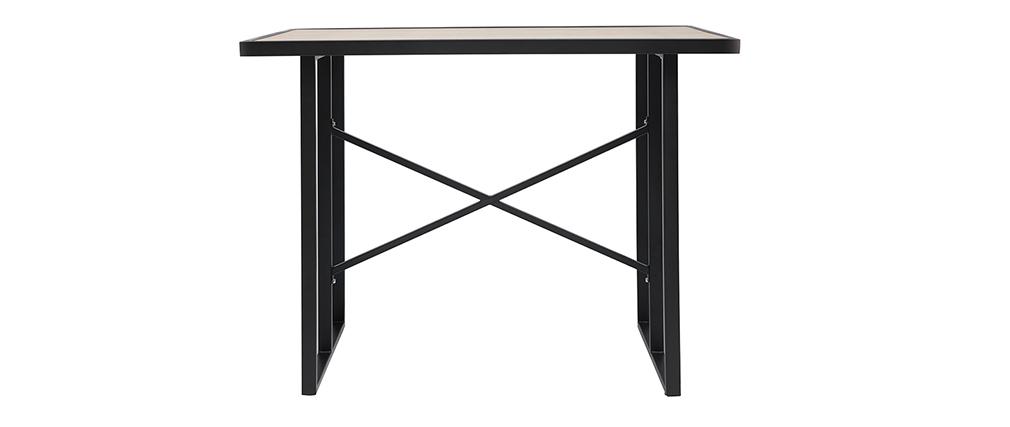 Table de bar en métal et verre motif bois QUITO
