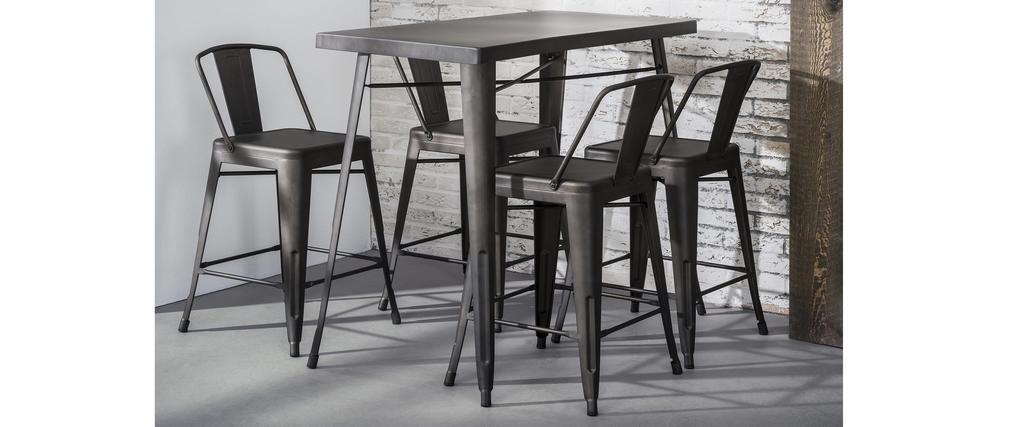 Table de bar industrielle en acier L120 cm DARK