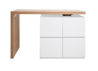 Ilot Table De Bar Modulable Avec Rangement Blanc Mat Et Chene H91 Cm Max Miliboo
