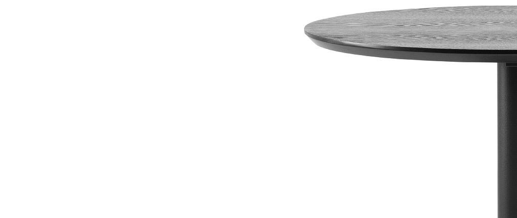 Table de bar ronde bois noir et métal D60 cm KALI