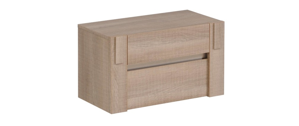 table de chevet 2 tiroirs ch ne gris manon miliboo. Black Bedroom Furniture Sets. Home Design Ideas