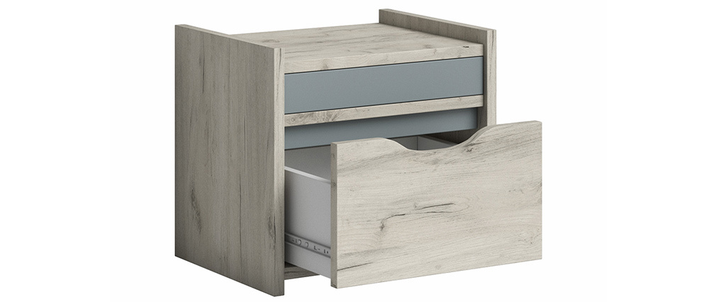 Table de chevet avec tiroir frêne blanc et gris TOM