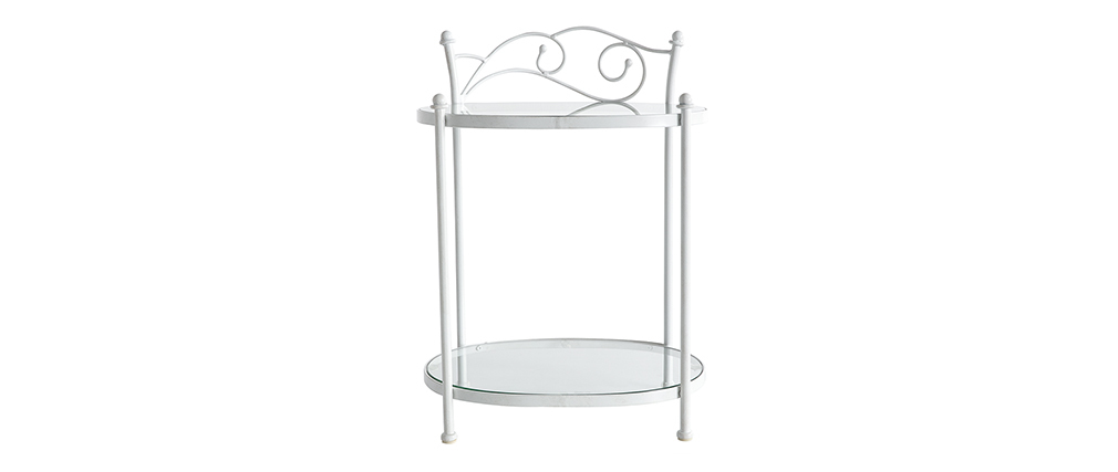Table de chevet baroque blanche m tal venezia miliboo - Table de chevet baroque blanche ...