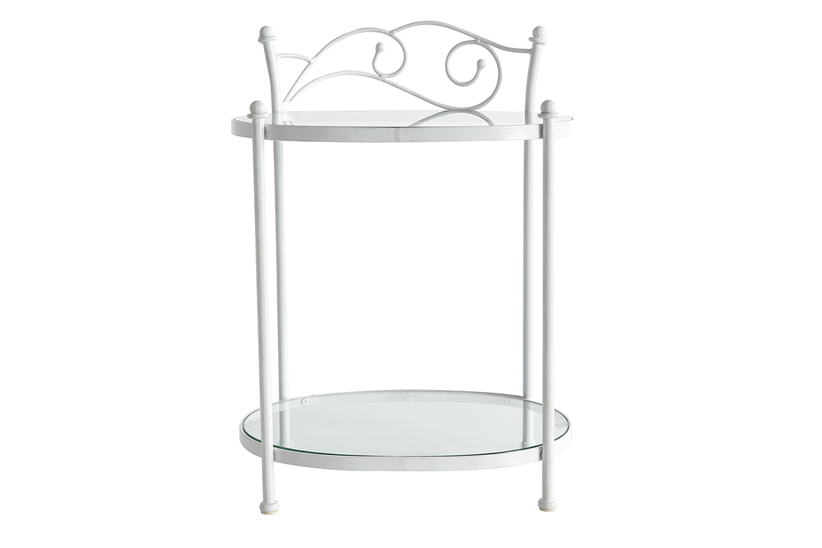 Table De Chevet Baroque Blanche Metal Venezia Miliboo