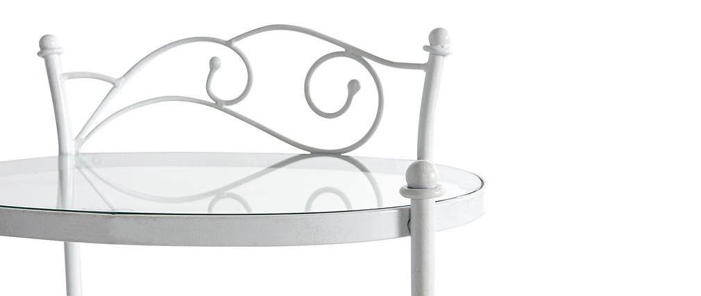 Table de chevet  baroque blanche métal VENEZIA