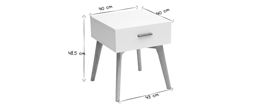 Table de chevet chêne et blanc GILDA
