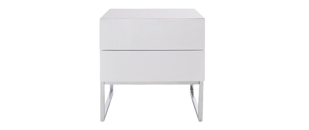Table de chevet design 2 tiroirs blanc laqué brillant NYX