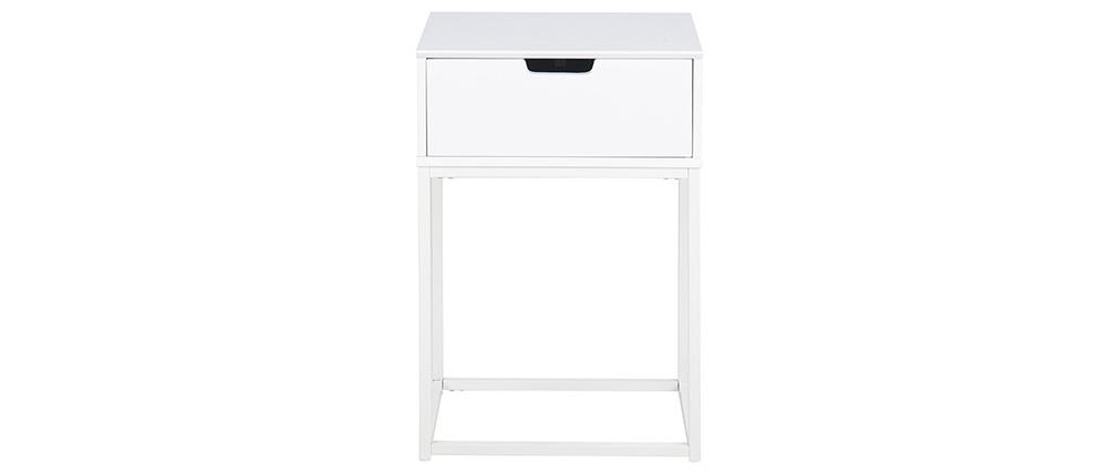 Table de chevet design avec tiroir blanche MITRAA