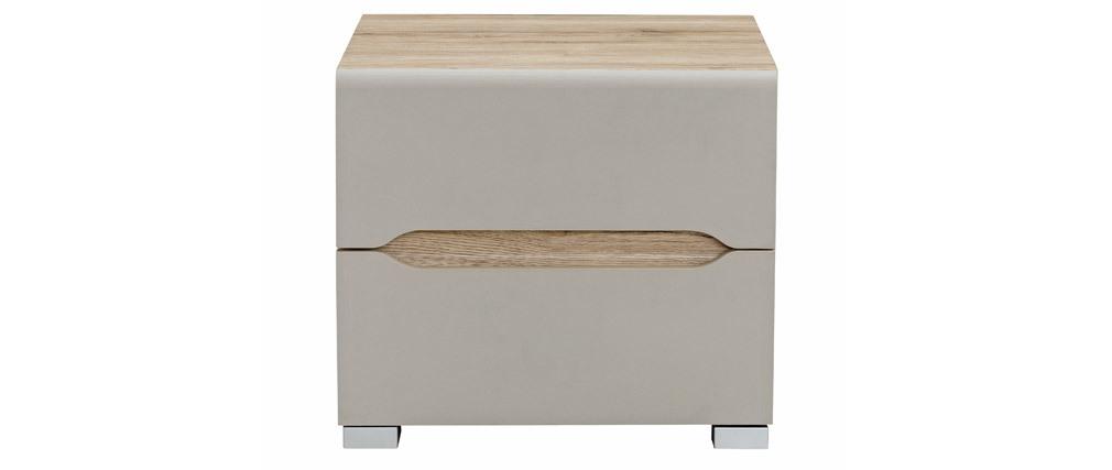 Table de chevet design bois clair et taupe WILLY